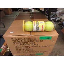 Case of 40 New 3 Piece Tennis Ball Sets