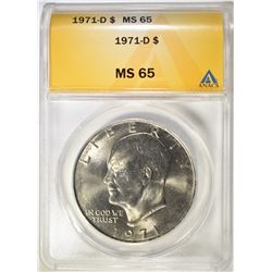 1971-D EISENHOWER DOLLAR  ANACS MS-65