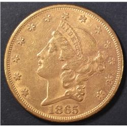 1865 $20 GOLD LIBERTY  BU  OLD CLEANING