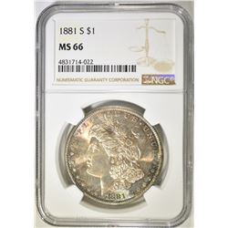 1881-S MORGAN DOLLAR   NGC MS-66   COLOR!