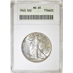 1943 WALKING LIBERTY HALF DOLLAR  ANACS MS-65