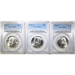 3 1968-D KENNEDY HALF DOLLARS  PCGS MS-65