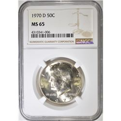 1970-D KENNEDY HALF DOLLAR  NGC MS-65