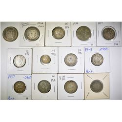 LOT OF 13 FOREIGN SILVER COINS