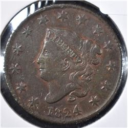 1824 LARGE CENT, VF/XF