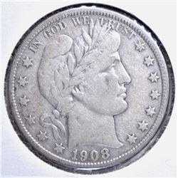 1908-O BARBER HALF DOLLAR VF