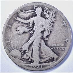 1921-S WALKING LIBERTY HALF DOLLAR, G/VG