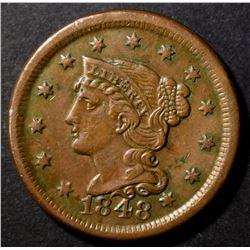 1848 LARGE CENT, AU+