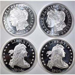4-COIN INSPIRED 1oz SILVER ROUNDS