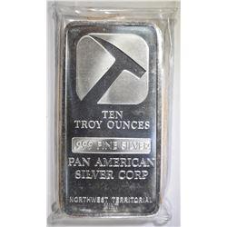 TEN OUNCE .999 SILVER BAR ( PAN AMERICAN )
