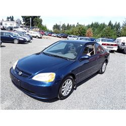 D2 --  2002 HONDA CIVIC EX , Blue , 218545  KM's