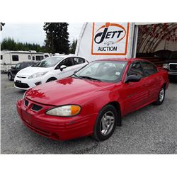 "A10 --  2002 PONTIAC GRAND AM SE  , Red , 146386  KM's, ""NO RESERVE"""