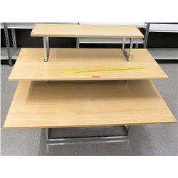 Wood & Chrome 3 Tier Store Table Display Rack