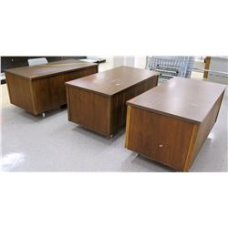 Qty 3 Wooden Desks w/ File Drawers & 1 Chair