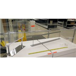 Qty 3 Clear Plexiglass w/ Chrome Stands Tabletop Sign Holder Displays