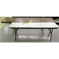 Qty 2 Long Folding Tables - 1 Wood Finish / 1 White