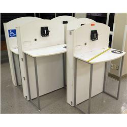 """Qty 5 White Computer Kiosks, 4 Kiosks, 34""""L x 19"""" D x 38.5""""H; 1 Kiosk, 34""""L x 19""""D x 34""""H"""