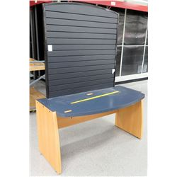 "Wood w/ Blue Top Desk & Black Backboard 60""L x 20""D x 31""H; Backboard: 77""H"