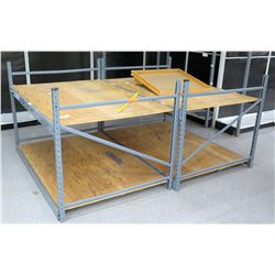 Qty 2 Metal & Plywood Adjustable Square Storage Shelves