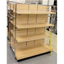 "Qty 2 Slatwall Panel Wood & Chrome Adjustable Display Shelf Racks 50.5""L x 39""D x 62.5""H; 69""L x 39"""