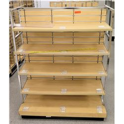 "Qty 3 Slatwall Panel Wood & Chrome Adjustable Display Shelf Racks 50.5""L x 39""D x 62.5""H; 2 pieces,"