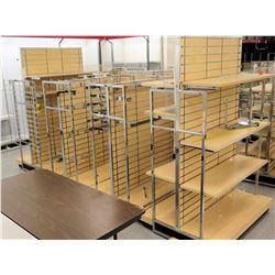 Qty 4 Slatwall Panel Wood & Chrome Adjustable Display Shelf Racks
