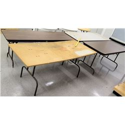Qty 4 Long Folding Tables - 2 Wood Finish / 1 White / 1 Plywood