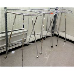 Qty 3 Chrome Rolling Round Clothing Racks on Wheels