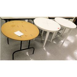 Qty 2 White Wood Round Tables & 1 Round Folding Table