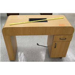 Wooden Desk w/ 2 File Drawers & Electric Outlet