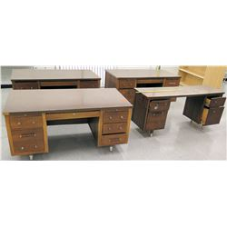 Qty 4 Wooden Desks w/ File Drawers