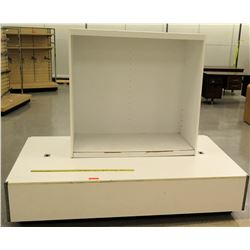"White Display on Rectangle White Base, Base: 84""L x 48""W x 18""H; Display: 50.5""L x 25""D x 48.5""H"