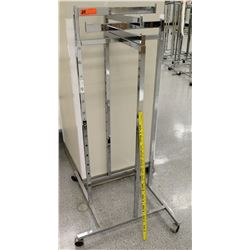 Chrome Rolling Square Clothing Rack on Wheels