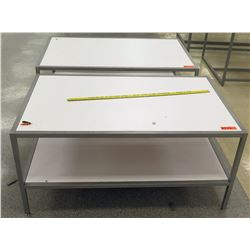 "Qty 2 White & Metal Tables w/ Shelf Underneath 48""L x 30""W x 22.5""H"