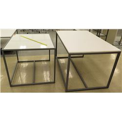 "Qty 2 White & Metal Tables, 1 piece, 42""L x 36""W x 32""H; 1 piece, 60""L x 36""W x 33.5""H"