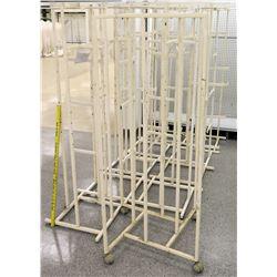 Qty 10 White Rolling Square Clothing Racks on Wheels