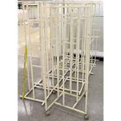 Qty 10 White Rolling Square Clothing Racks on Wheels