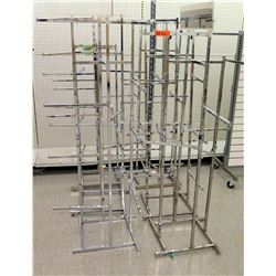 Qty 6 Chrome Rolling Square Clothing Racks on Wheels