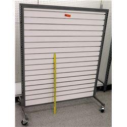 White Slatwall Panel System w/ Black Metal Base on Wheels