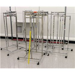 Qty 7 Chrome Rolling Square Clothing Racks on Wheels