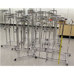 Qty 10 Chrome Rolling Square Clothing Racks on Wheels
