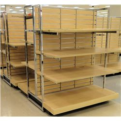 "Qty 2 Slatwall Panel Wood & Chrome Adjustable Display Shelf Racks 50""L x 58""D x 62.5""H"