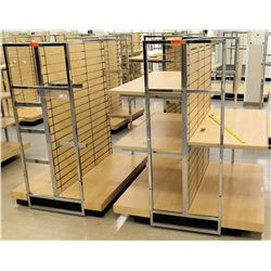 "Qty 2 Slatwall Panel Wood & Chrome Adjustable Display Shelf Racks 50.5""L x 51""D x 62.5""H; 50.5""L x 3"