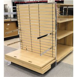 "Slatwall Panel Wood & Chrome Adjustable Display Shelf Racks 105""L x 50.5""D x 62""H"