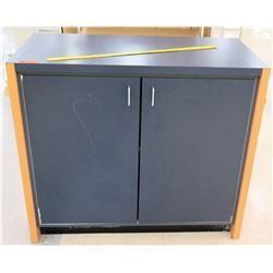 Short Blue 2 Door Cabinet w/ 2 Inside Shelves