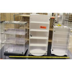 Qty 3 Plastic Jewelry Tabletop Display Cabinets - 1 White / 2 Clear