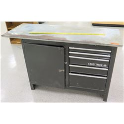 Metal Craftsman Work Table w/ 2 Shelves & Drawers Underneath