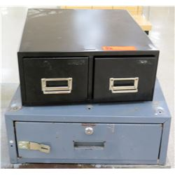 Black Metal 2 Side Index Card File & Blue Locking File Drawer