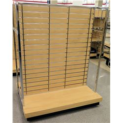 Slatwall Panel Wood & Chrome Adjustable Display Shelf Rack
