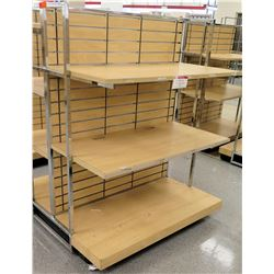 Slatwall Panel Wood & Chrome Adjustable Display Shelf Rack 50.5 L x 51 D x 62.5 H